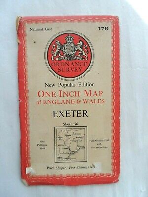 Antique Popular One Inch OS Ordnance Survey Map on Paper #176 Exeter
