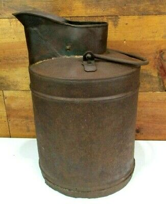 Primitive Solder Seam Heavy Metal Milk Cream Can Bucket Pail Handle Farm Vtg Old
