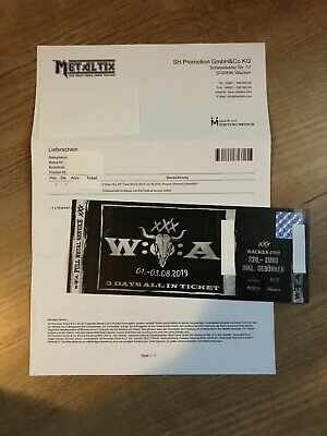 1x Ticket Wacken Open Air W:O:A 01.08.-03.08.2019