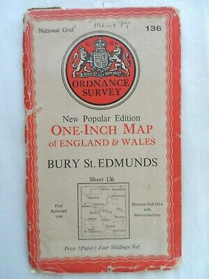 Antique Popular One Inch OS Ordnance Survey Map on Paper #136 Bury St Edmunds