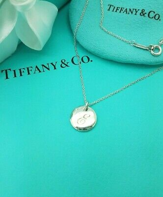 376b5b214 Tiffany & Co Silver Letter Initial E Disc Circle Pendant Necklace 16