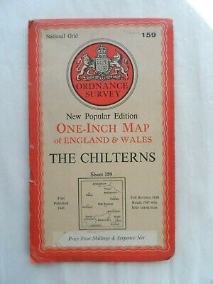 Antique Popular One Inch OS Ordnance Survey Map on Paper #159 The Chilterns