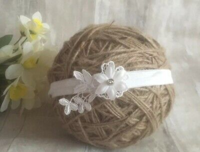Baby Girl Off White Christening Headband Baptism Wedding Small Flower Hairband