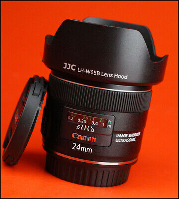 Canon EF 24mm f2.8 IS USM Autofocus Prime Lens With Front & Rear Lens & Hood