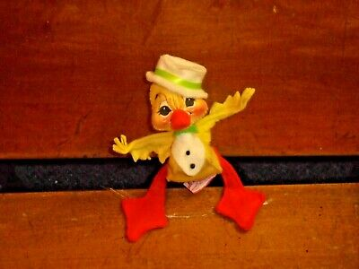 Vintage 1991 Annalee Yellow Felt Duck with Top Hat Wire Posable Toy Doll