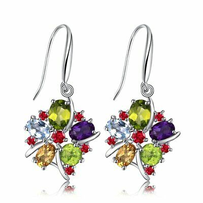 Natural Amethyst Garnet Peridot Citrine Blue Topaz Earrings 925 Sterling Silver