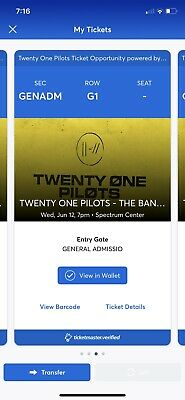 Two Tickets - Twenty One Pilots June 12, 2019 7pm concert-  Charlotte NC