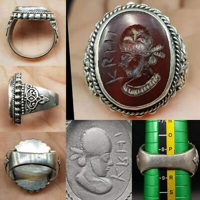 Silver Ring Old  Agate stone King Face & writing Stone Intaglio    # 16