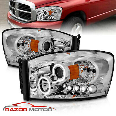 2006-2009 Dodge Ram 1500 2500 3500 LED Parking Chrome Projector Headlights Lamps