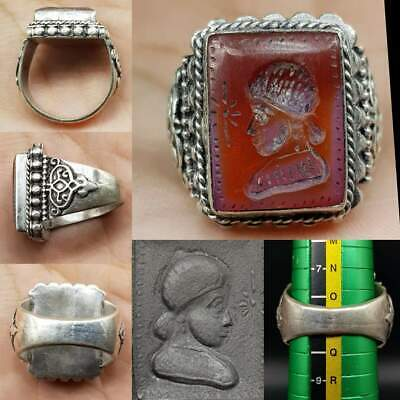 Lovely Silver Ring With Old Agate intaglio seal Stone  # 16