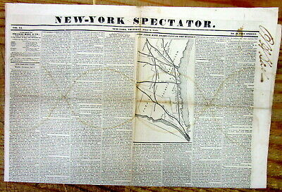 1848 newspaper w detailed map of the RAILROADS from CONNECTICUT to NEW YORK CITY