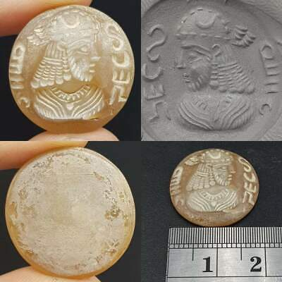 Wonderful Sassanian Writing &  Face Old intaglio Agate stone  # 16
