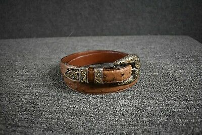 Lucchese Ostrich Belt w/ Vogt Sterling Silver 925 14k Gold Fill Buckle-size 38
