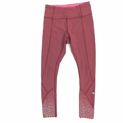 """6d46dc019 LULULEMON TIGHT STUFF Tight 7 8 25"""" Pants Reflective Cranberry Red ..."""