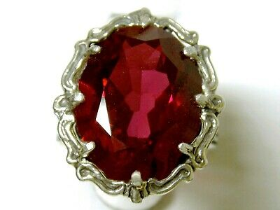 12ct RED RUBY FILIGREE ANTIQUE 925 STERLING SILVER RING SIZE 4.5 USA MADE
