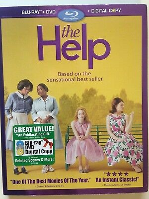 The Help (Blu-ray/DVD, 2011, 3-Disc Set, Incl Digital Copy)(NEW) Based on Novel