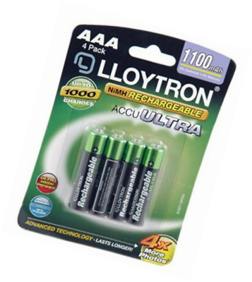 4 x Lloytron 1100 mAh AAA Rechargeable Ni-MH Batteries Cordless Phone Remote Toy