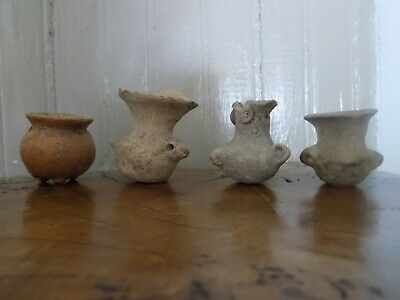 Pre-Colombian Four Small Terracotta Vessels (700 B.C-1200 A.D)