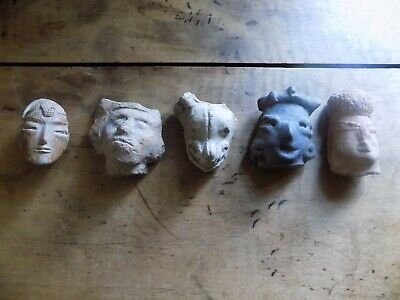 Pre-Colombian Five Terracotta Heads Mayan (700 B.C-1200 A.D)