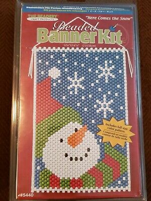 "The Beadery Beaded Banner Kit Here Comes The Snow Snowman #5440 14.75""x9.75"""