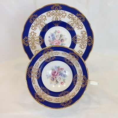 Royal Grafton Fine Bone China Cup Saucer Blue Gold Roses Inside Cup
