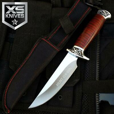 "10"" Hunt-Down Fixed Blade SURVIVAL Wood Handle Hunting Knife Skinner W/ Sheath"