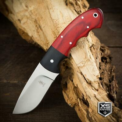 "Buckshot 7.75"" Survival BUSH CRAFT Hunting RED WOOD Fixed Blade FULL TANG Knife"