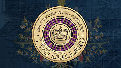 2013 Australian $2 Two Dollar Coin Purple 60TH Anniversary Queens Coronation