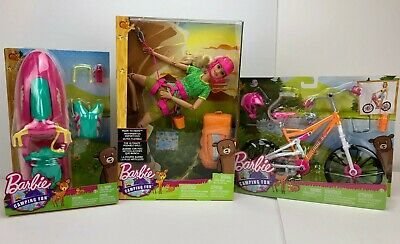 New BARBIE Camping Fun Made to Move Rock Climber Doll Jet-Ski Bike Set Mattel
