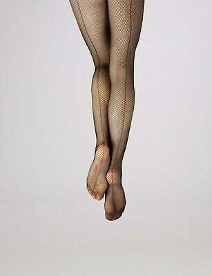 b4ed8d76f1df9 New Capezio 3408C/3408 Studio Basics Seamed Fishnet Black Tights - NIP