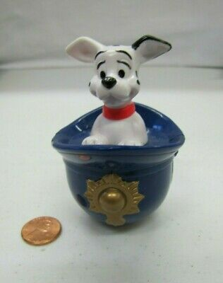DISNEY'S 101 DALMATIANS PUPPY DOG WEEBLE WOBBLES in FIREMAN HAT Firehouse Rare!