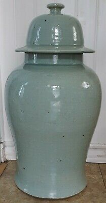 "Antique Vintage Large Chinese Celadon Porcelain Jar 18"" Not Vase"