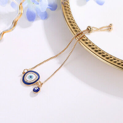 New Women Simple Fashion Evil Eye Rhinestone Alloy Material Adjustable Bracelet