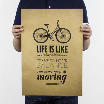 life is like riding a bicycle poster cafe bar decor  kraft paper wall sticker ~