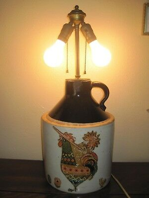 Large Vtg Crock Lamp w/Chicken or Rooster Decal - Brown Glazed Top, Double Bulb