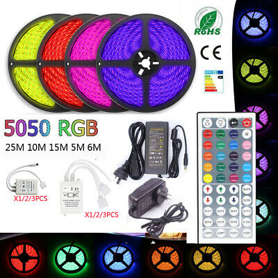 25M 5050 RGB LED Strip Light Flexible IR Controller Adapter 12V 1M 2M 3M 5M 10M
