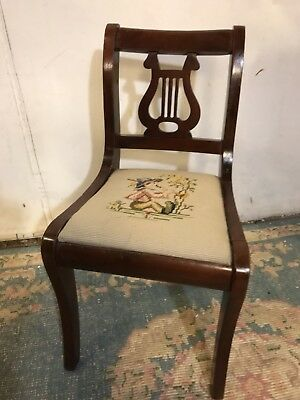Antique Solid Mahogany Lyre Chair Needlepoint Salesman'sSample.12PIXLiquidation
