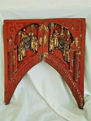 Chinese Antique Relief Carved Shrine Gilt Panels Red Gold Wood Figural Wall Art