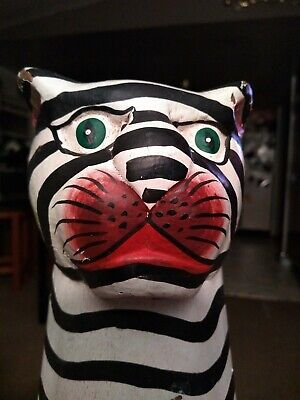 "Vintage Hand Painted & Carved! Wood Striped Cat Sculpture Statue Folk Art 18"" T!"