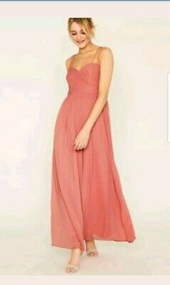 25fb26594a9d BNNWT PINK OASIS Pink Lucy Chiffon Pleated Bow Back Maxi Dress Size ...