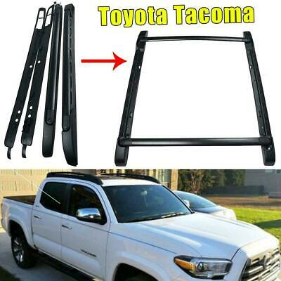 For 2017 18 Toyota Tacoma Double Cab Roof Rack Crossbars Side Rail Bars Black