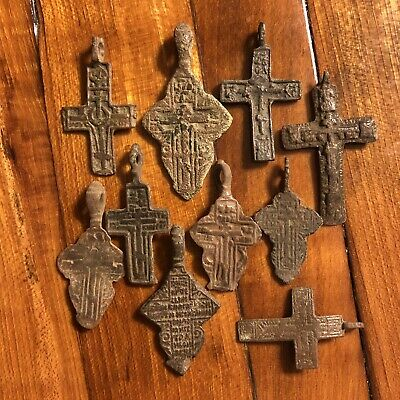 10 Medieval Cross Pendants Byzantine Russian Artifact Calvary Orthodox Jesus Old