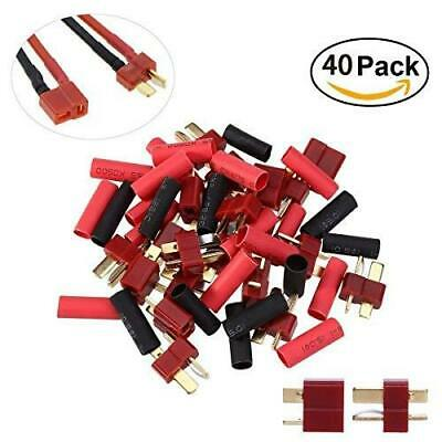 20 Pairs Ultra T-Plug Connectors Deans Style Male and Female with 40pcs Shrink T
