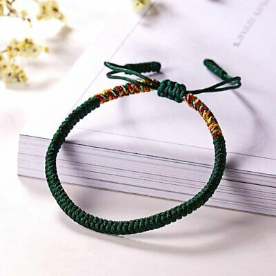 Women Men Tibetan Buddhist Love Lucky Bracelets Handmade Knot Rope Bangles Green