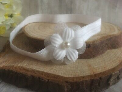 Baby Girl Off White Christening Headband Baptism Wedding Flower Hairband Pearl
