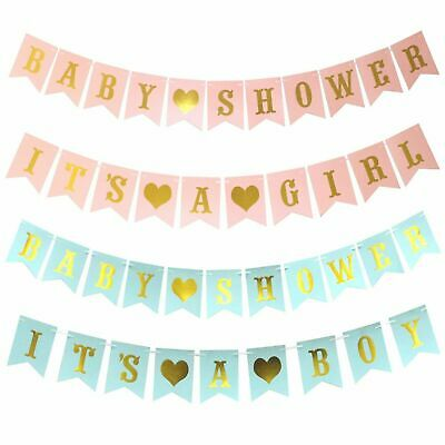 Baby Shower BANNER Boy Girl UNISEX Pink Blue Decorations Bunting Photo Prop New