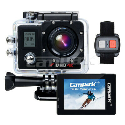 """Campark ACT76 Sports Action Camera 4K 16MP WiFi 2"""" Dual LCD w/Remote Control AU"""
