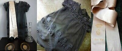 1890 Sublime French Noble Child Black Net Lace Mourning Robe W Memorial Ribbon