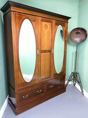 An Antique Edwardian Solid Mahogany Triple Wardrobe ~Delivery Available~