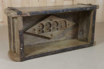 Vintage wooden brick mould with numbers 555B - planter, storage etc